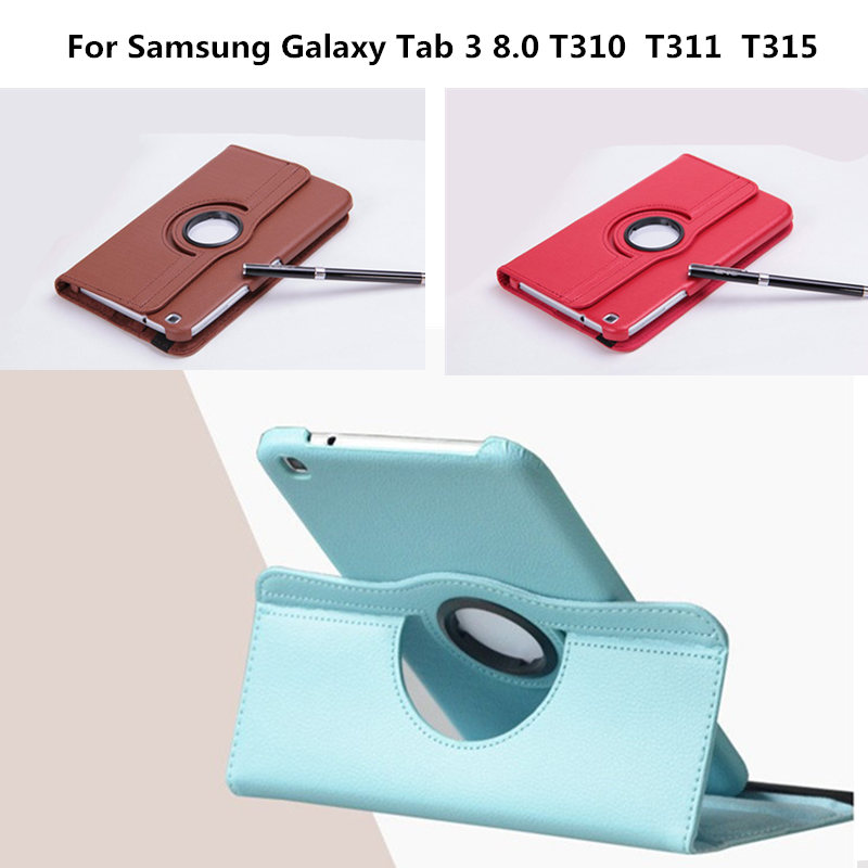 SM-T310 SM-T311 SM-T315 PU Leather Cover 360 Degree Rotating Stand Case For Samsung Galaxy Tab 3 8.0 inch T311 T310 T315 Tablet luxury pu leather silicon case for samsung galaxy tab 3 8 0 sm t310 t311 t315 case cover funda fashion tablet flip stand shell