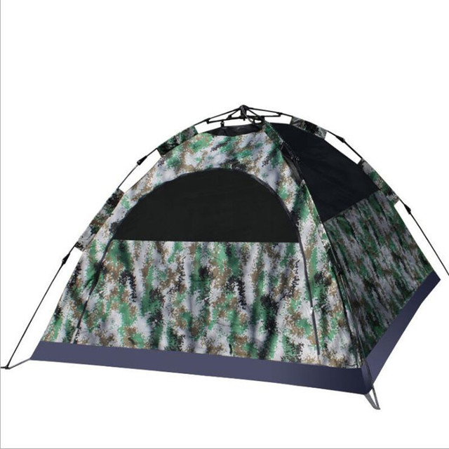 2017 Double Camo Outdoor Three-season Camping Tents Fiberglass One Bedroom 3-4 person Quick Automatic Opening Travel Tents