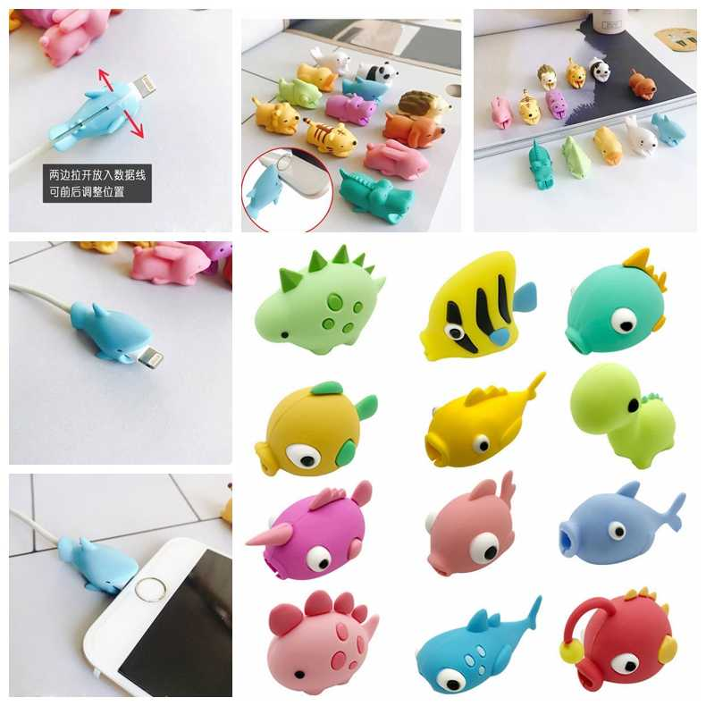 Cable Bite Protector Cable Bite Biters USB Animal Bite Organizer Phone Holder Accessory Cable Buddies  for Iphone/ipad/ipod 1pcs