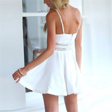 White Black Vestidos 2017 Summer Fashion Women Sexy Strap V Neck Crochet Lace Waist Skater Dress Casual Party Mini Short Dresses