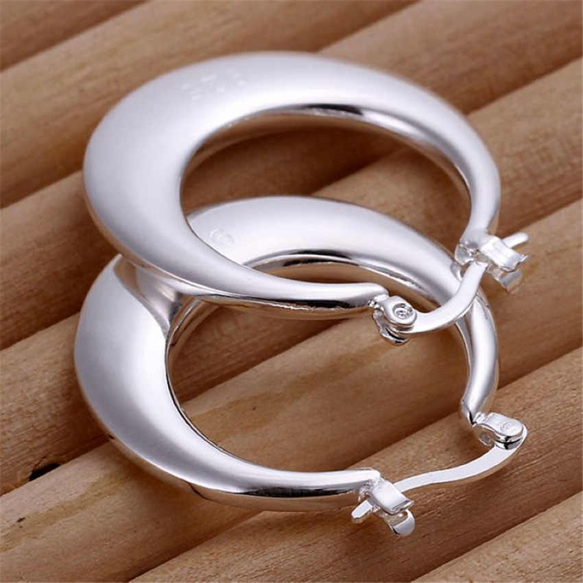 factory wholesale E077 Beautiful Lady solid earring silver color earrings high quality fashion classic jewelry women Lady