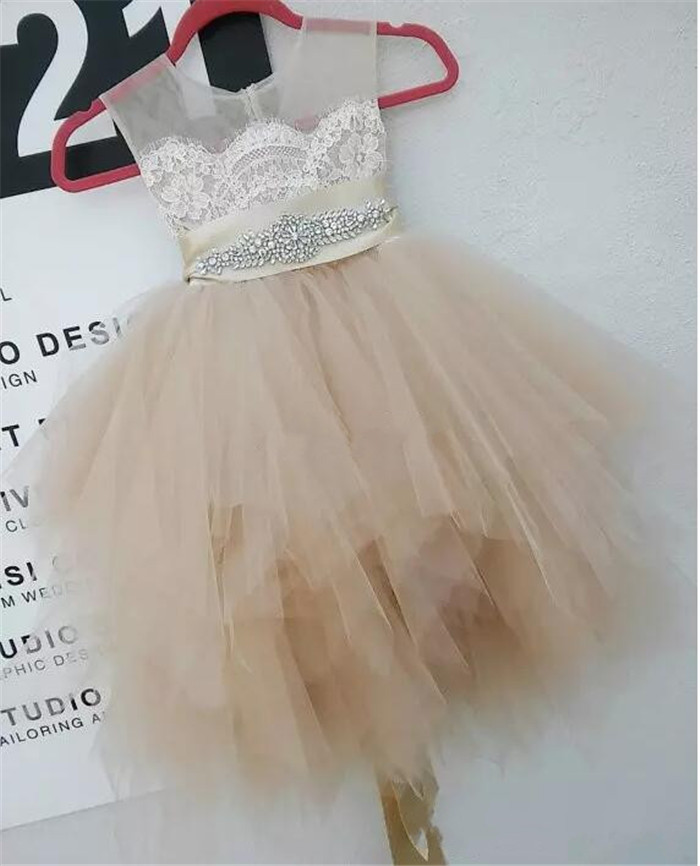 Cute Flower Girl Dresses for Wedding Party Champagne Lace Tulle Knee Length Beaded Belt Sheer Crew Neck Communion Dress black handmade beaded details crew neck sleeveless high waisted dress