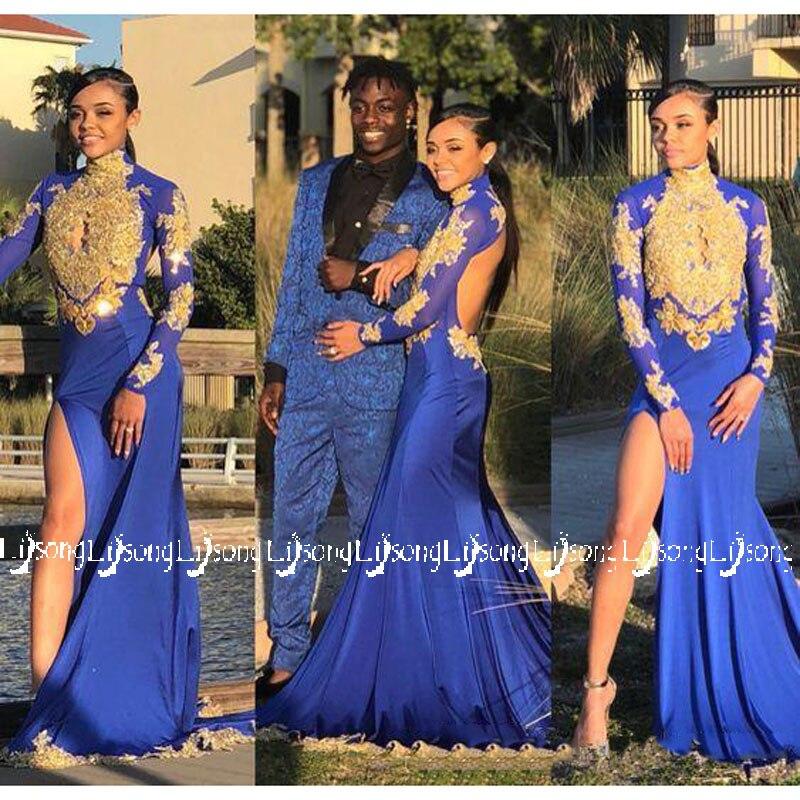 Goud Blauw Sheer Seksuele Mermaid Lady Party Wear Backless Hoge Been Split Zuid Afrikaanse Homecoming Jonge Dame Maxi Jurken Plus Size Materialen Van Hoge Kwaliteit