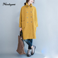 Nicelegant Autumn Winter Korean Version Women Coat Double Breasted Turn Down Fit For Fat MM Thick