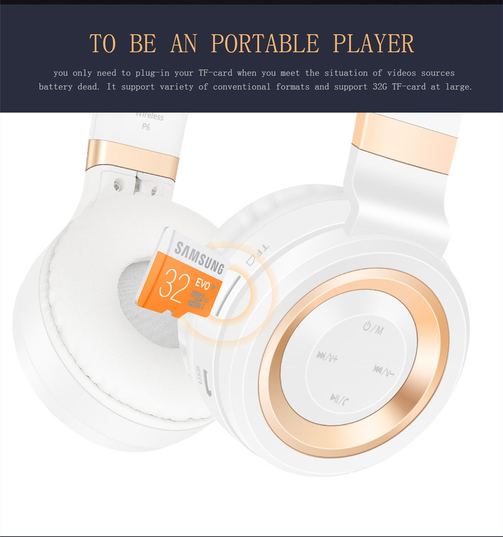 Sound Intone P6 S Bluetooth Headsets Stereo wireless Headphones With MIC Support FM Radio TF Card Earphone For iPhone Xiaomi PC 7