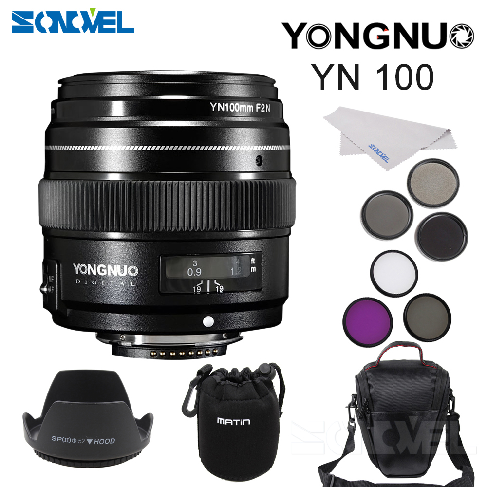 YONGNUO 100MM F2 Lens Large Aperture AF/MF Medium Telephoto Prime Lente Macro YN100mm+58 UV CPL FLD ND2/4/8+Bag+Hood For Nikon yongnuo yn100mm f2 af mf medium telephoto prime lens fixed focal for canon eos rebel camera ef mounting port 600d 60d 80d 6d5d3