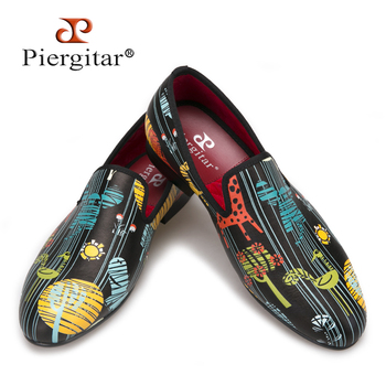 Piergitar  Fashion party and show men's casual leather shoes big size male smoking slippers Handmade men loafers