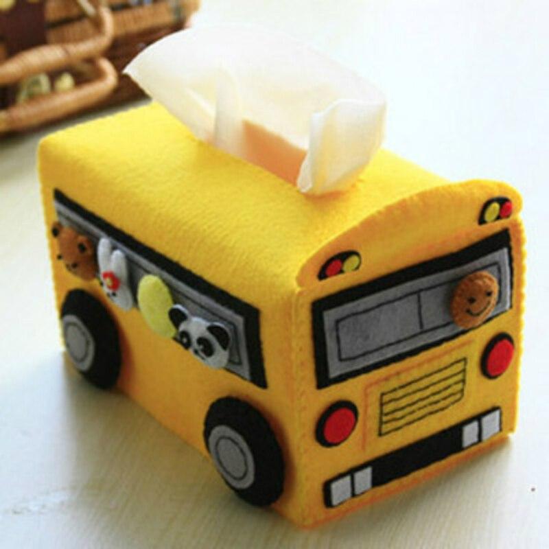Creativo Scuola Bus Scatola Del Tessuto Stile Feltro Pacchetto Materiale DIY 17X10X9 CM FAI DA TE Semplice Esercizio Per materna e Scuola Primaria