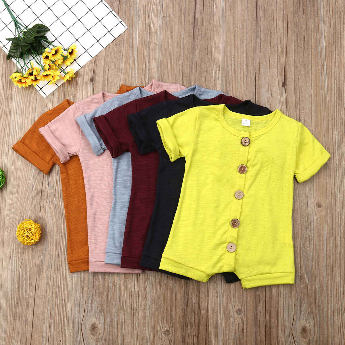 2019 Children Summer Clothing Toddler Newborn Baby Boy Girl Romper Jumpsuit Shortsleeve Sunsuit Candy Color Solid Outfit Clothes
