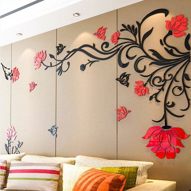 3D Flower Rattan Wall Stickers Home Decor Living Room Art TV Background  Acrylic Mirrored Decorative Sticker
