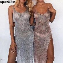 Women Sexy Bikini Beach Cover-up Swimsuit Covers up Bathing Suit Summer Beach Wear knitting Swimwear Mesh Beach Dress Tunic Robe