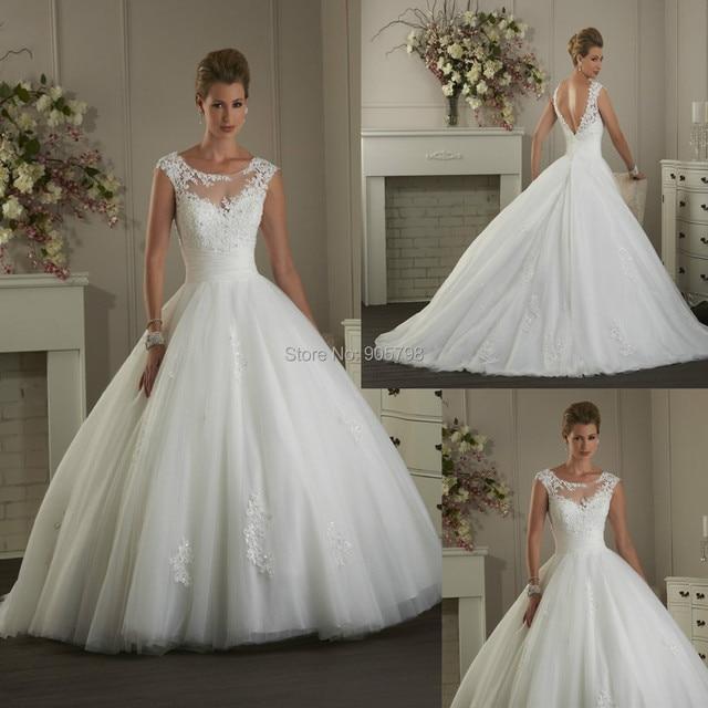 d25cfc919c96 Modern illusion bateau neckline short cap sleeve ball gown Lace wedding  dress/bridal dress