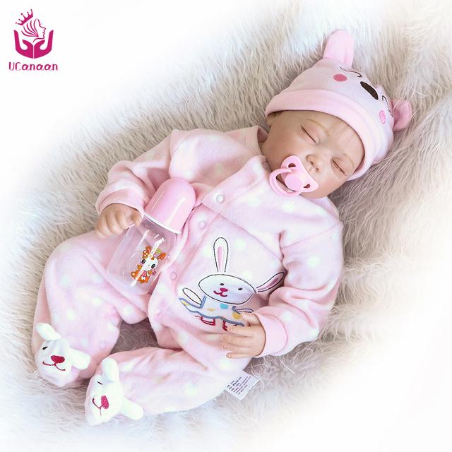 UCanaan 50-55 cm NPK Fechou Os Olhos de Segurança Boneca de Vinil Silicone Renascer Boneca Brinquedos de Alta Qualidade para Crianças Presente de Aniversário