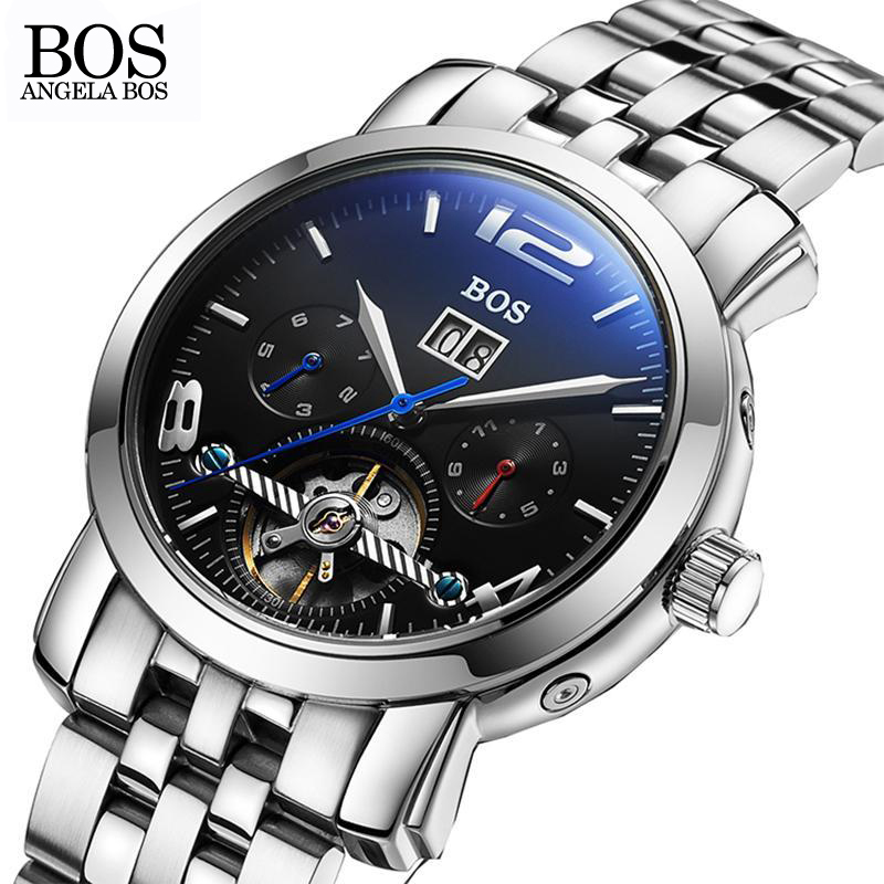 ANGELA BOS Sub Dial Work Skeleton Mechanical 2017 Automatic Date Men Watch Calfskin Leather Stainless Steel Wrist Watch Man 6pcs lot soft thumb grips thumbstick joystick high enhancements cover caps skin fit for sony play station 4 ps4 ps3 xbox 360
