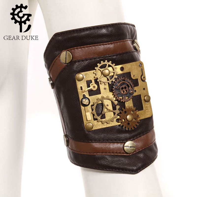 GearDuke Steampunk Gothic Women's Arm Sleeve Coffee PU Leather Retro Bracelet Vintage Brass Button Arm Sleeve Accessories