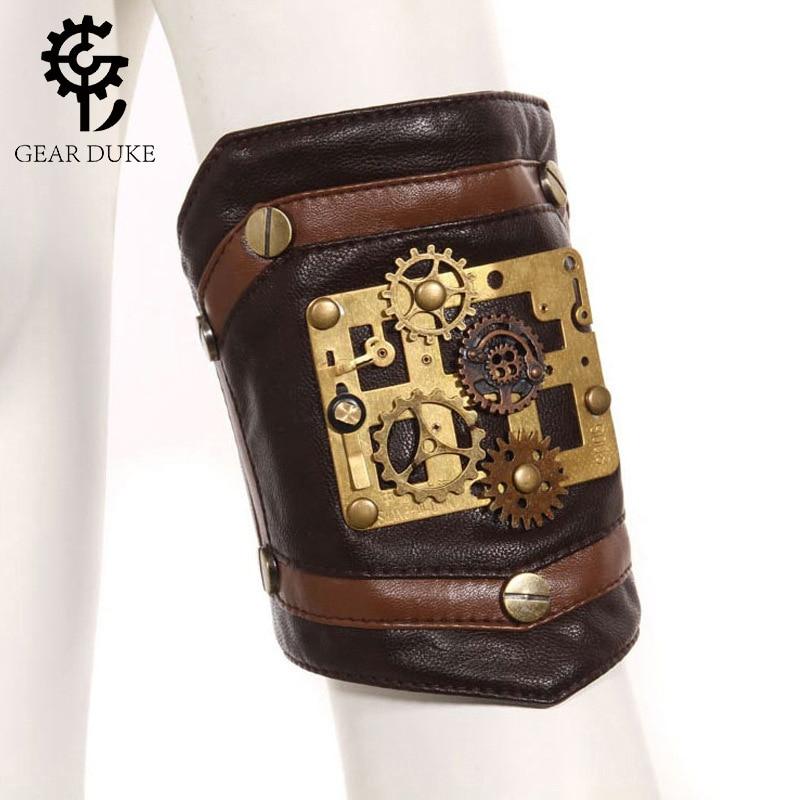 GearDuke Steampunk Gothic Women's Arm Sleeve Coffee PU Leather Retro Bracelet Vintage Brass Button Arm Sleeve Accessories