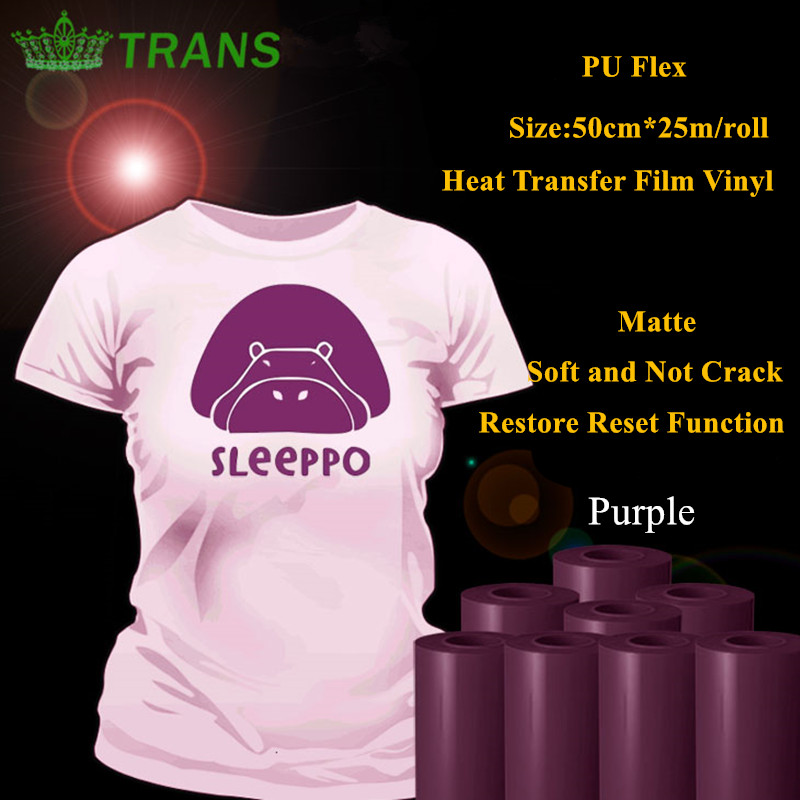 PU Flex heat transfer vinyl for clothing purple color matte thermel press film for tshirt heat transfer film vinyl 50cm*25m/roll free shipping 5rolls 50cmx100cm heat transfer vinyl film pet metal light mirror finish for textile print