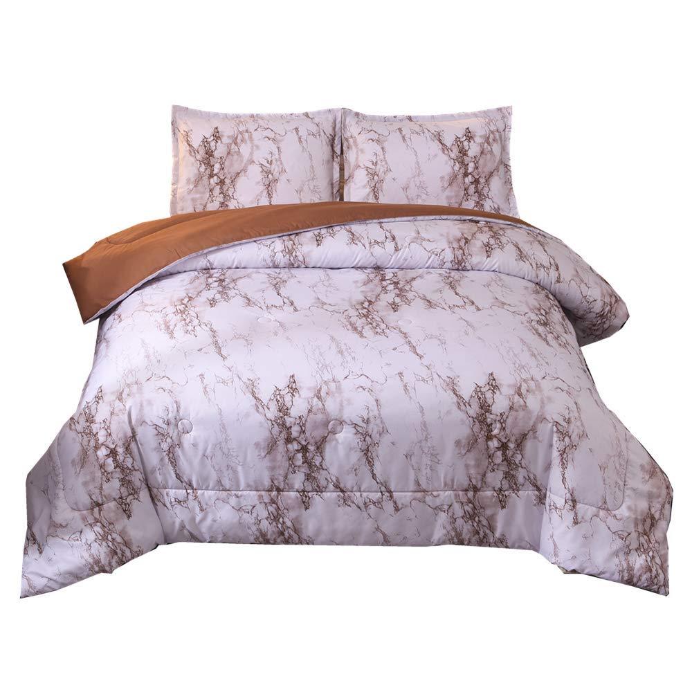Marble Comforter Set Queen, Brushed Quilt Bedding Sets (Purple, Queen)