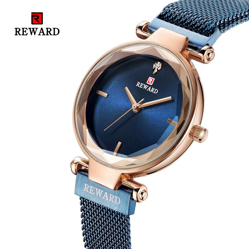 REWARD 2019 Hot Top Luxury Waterproof Concise Mesh Steel Strap Female Quartz Wristwatches Women Watches Relogio Feminino saati in Quartz Watches from Watches