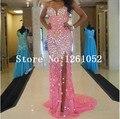 Greceful rosa sirena cariño con cuentas embellecimiento vestido de fiesta con alta dividir