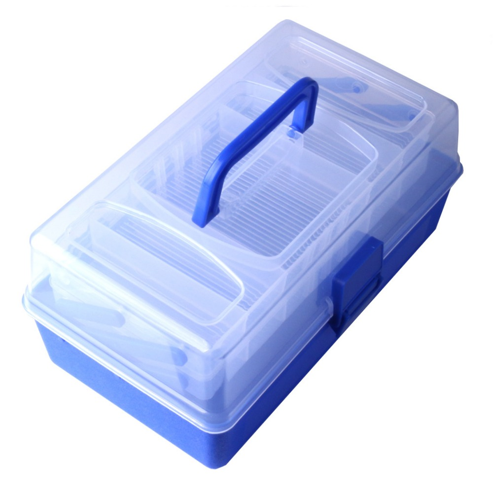 Portable Multifunction Tool Box  Plastic Storage  Cosmetic  Medicine  fishing box size 28.0 * 15.0  * 14.0 cm portable storage case box for fishing gadgets transparent