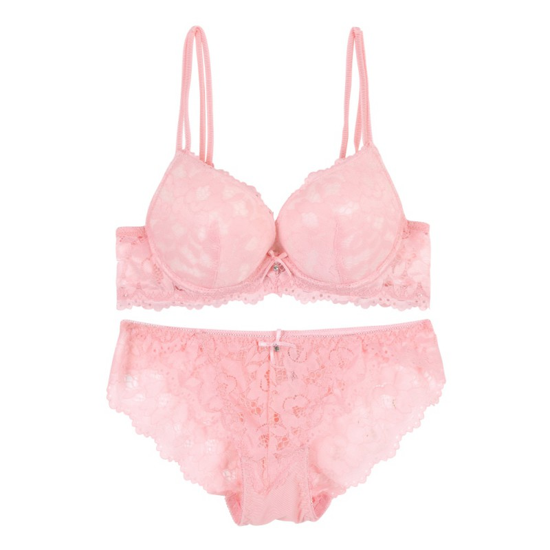2019 Sexy Lace   Bra     Set   Embroidery Padded Push Up   Bra     Sets   +Bow Lace   Brief   Women   Bra   Lingerie   Set
