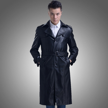 2018 Autumn Male ultra long leather clothing Turn down suit collar men's leather overcoat leather trench coat Gabardina de cuero