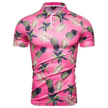 купить Mens Polo Shirt Brands Pineapple Floral Printed Short Sleeve Camisas Polo Men Fashions Summer Funny Hawaii Pink Polo Homme M-XXL по цене 1257.03 рублей