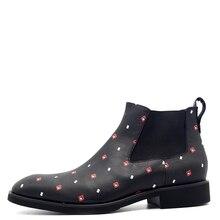 Список и цена мужские туфли из тисненой кожи красный белый педикюр джентльмен Челси Chaussures Hommes EN Cuir