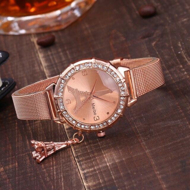 2018 New Arrival Hot Sale Paris Eiffel Tower Women Lady Girl Stainless Steel Quartz Wrist Watch Relogio Feminino Relojes Gif