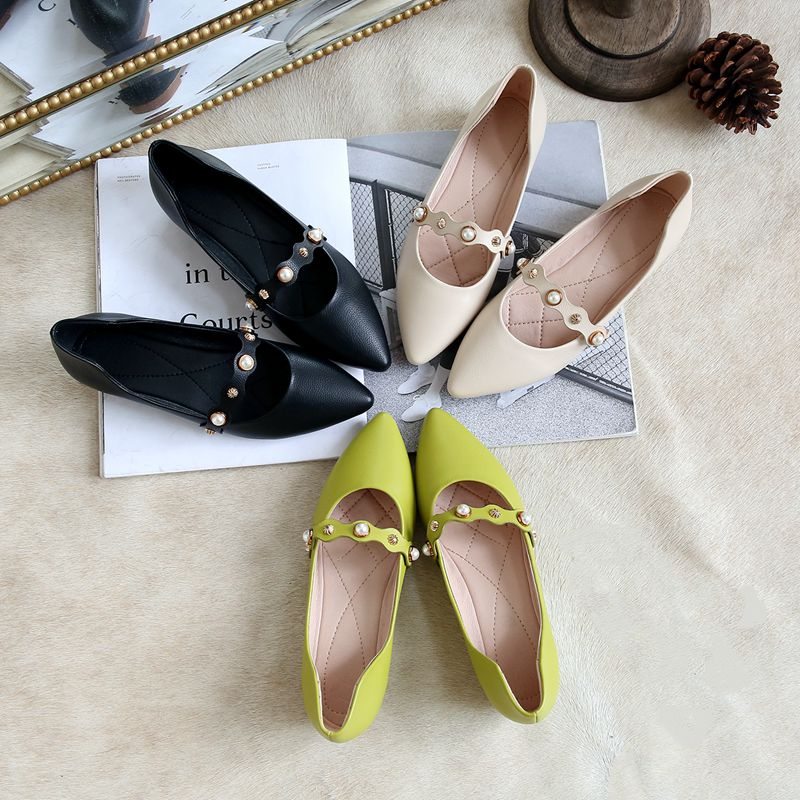 Bout Chaussures Dames Printemps Femme Sur Beige black Pointu Simples Marque Casual green Perle Les Appartements B858 Simloveyo Slip Automne Femmes FPXZq