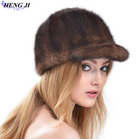 2017 New Mink Hair Knight Cap Autumn Winter Ladies Fashionable Mink Fur Straw Hat Handmade High