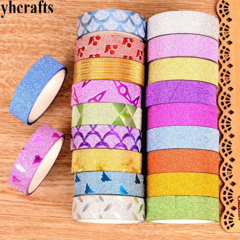 10 Rolls/Lot Colorful And Pure Color Plastic Tape With Shiny Glitter Craft Material  Scrapbooking Kit Creative Activity Items