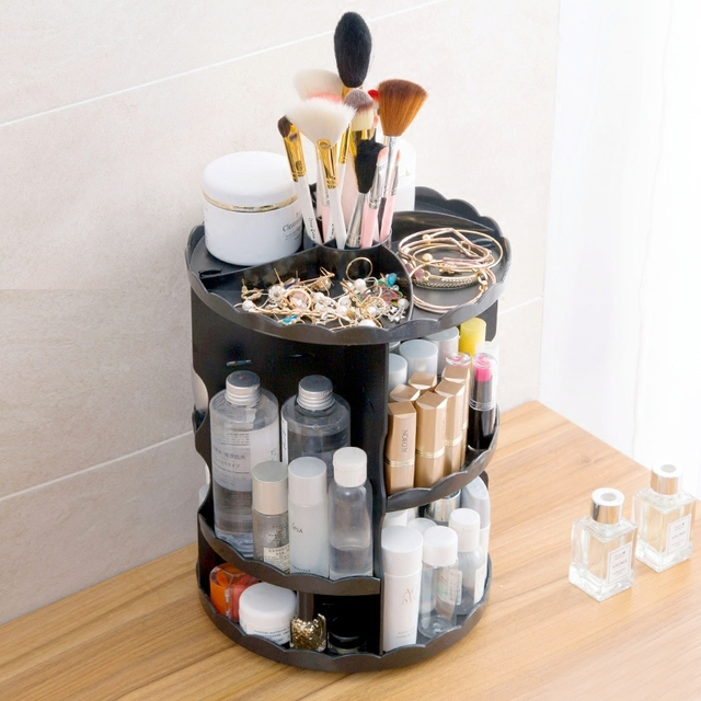 Fashion 360-degree Rotating Makeup Organizer Box Brush Holder Jewelry Organizer Case Jewelry Makeup Cosmetic Storage Box 3Colors