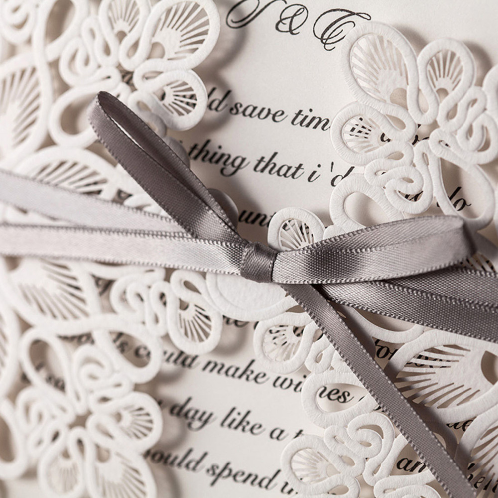 White Square Vertical Laser Cut Wedding Invitations Cards with ...