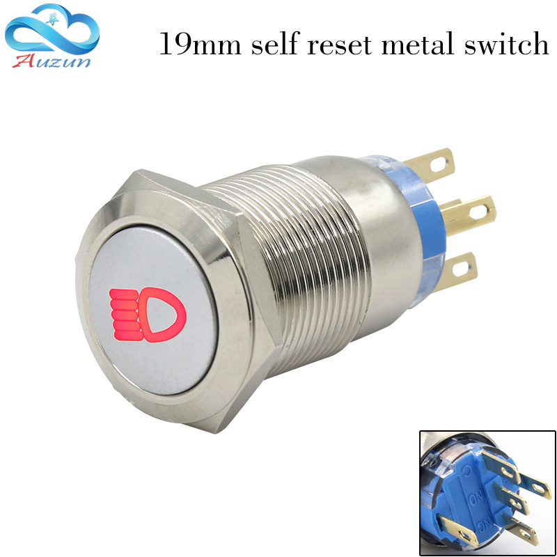 Car heating button switch 19 mm self-reste metal button switch and copper nickel waterproof can be customized