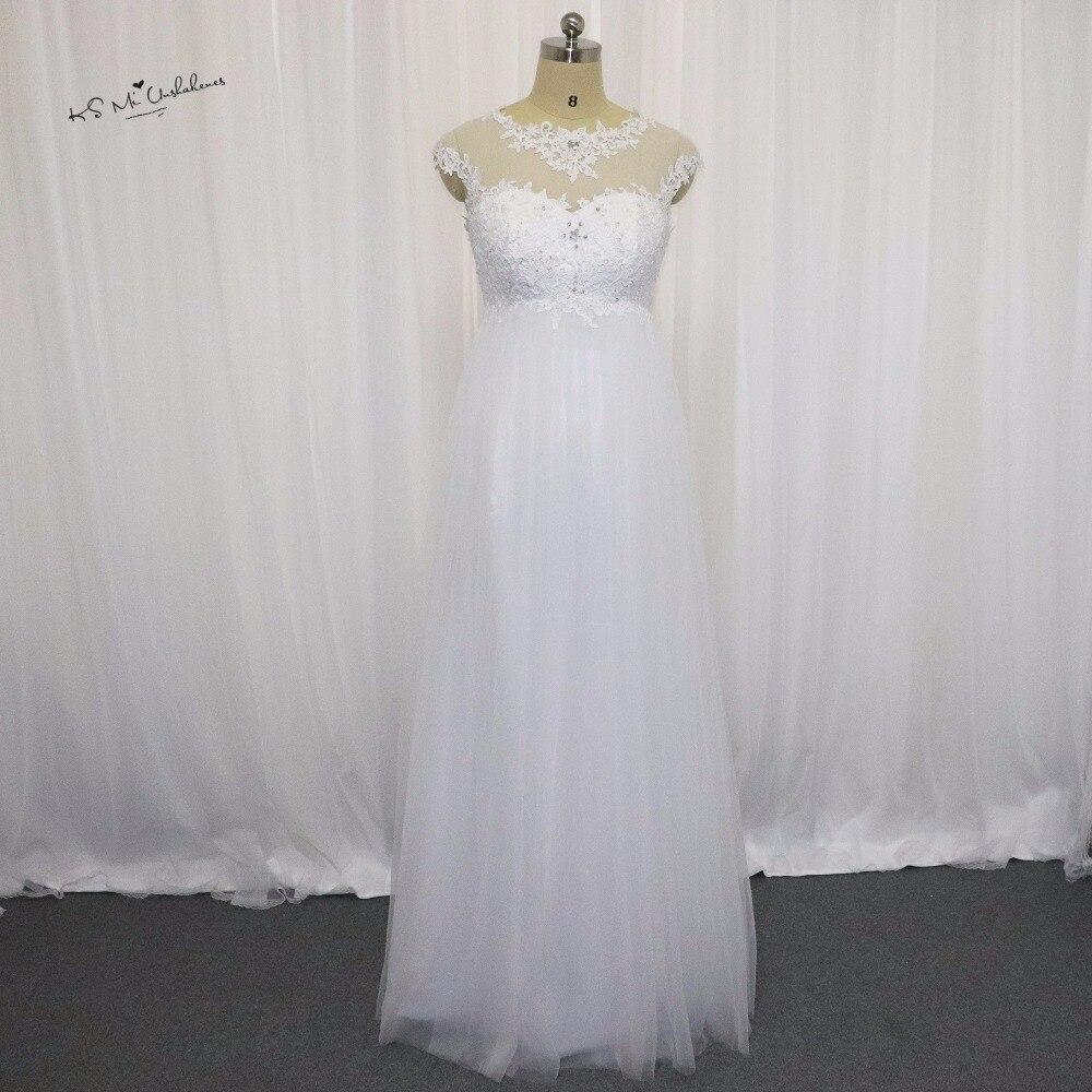 Maternity Wedding Dresses for Pregnant Women Lace Bridal Dress Empire Waist Wedding Gowns Corset Back Vestido