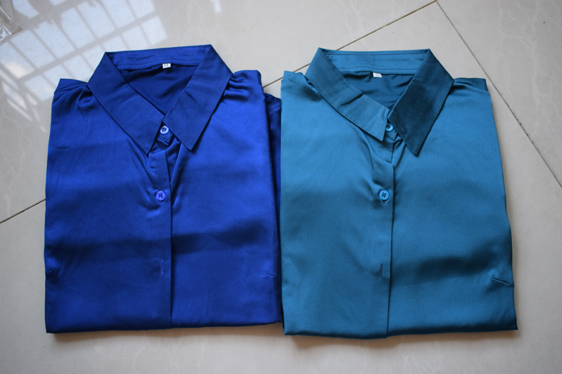 Silk Blouses Shirts office Long Sleeve Shirt Women work wear woman shirt (10)