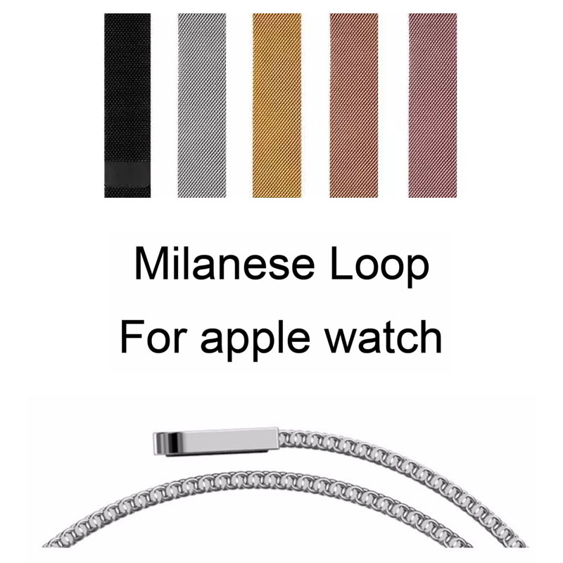 Milanese Loop Strap for Apple Watch Series 1 2 3 Band for iWatch Stainless Steel Bracelet Magnetic Buckle Belt with Adapters цена