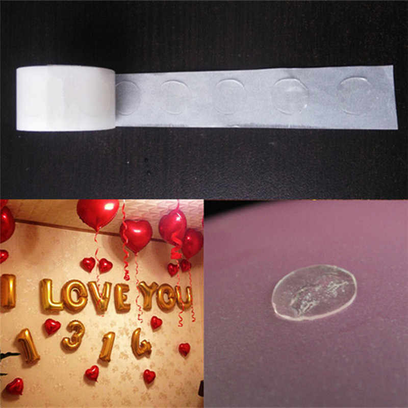 100 Uds pegamento para globos Punto de doble cara fijación multiuso goma aire pegatina para Globo bolas inflables juguetes decoraciones cumpleaños boda