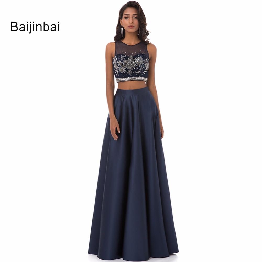 Baijinbai Новая мода халат De Soiree бисер блестками Длинные вечерние платья 2019 двойка молния назад вечерние на заказ 537