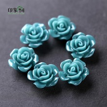 10pcs Teal Resin Rose Flower Bead Caps 15x8mm Flat Back 3D Charms Fit For Necklace Bracelet Handmade Jewelry Making 26001