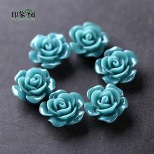 10pcs Teal Resin Rose Flower Bead Caps 15x8mm Flat Back 3D Flower Charms Fit For Necklace Bracelet Handmade Jewelry Making 26001(China)