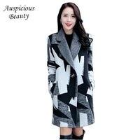 2017 Yeni Sonbahar Kış Moda Kadın Yün Ceket Ceketinizin Yaka Bir düğme Orta uzun Coat Uzun Kollu Gevşek Büyük metre Kat CXM361