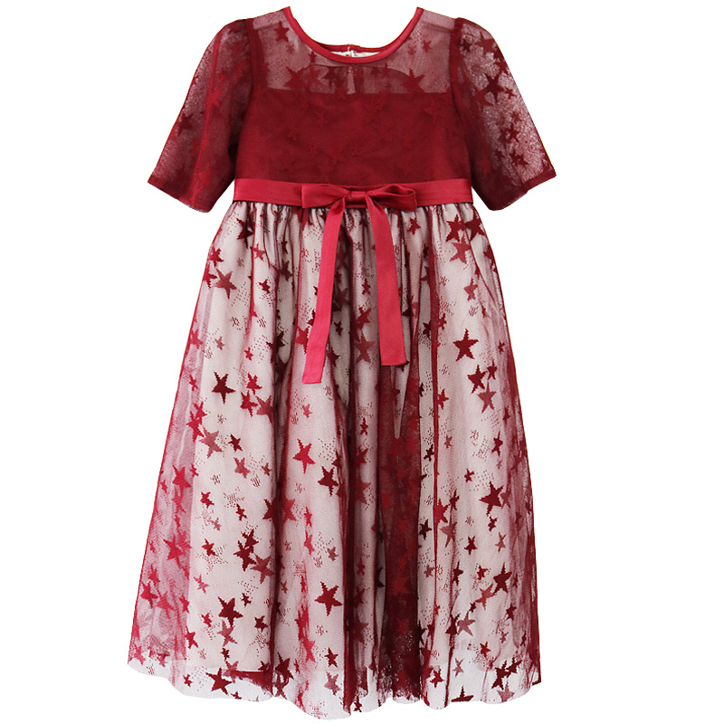 Girls star Princess dress 2018 Blue Red Kids Lace Pageant Wedding birthday party Dresses Children clothes for baby girl 3-11Year new christmas flower girls dress lace embroidery trumpet wedding pageant birthday summer princess party dresses clothes 3 12yrs