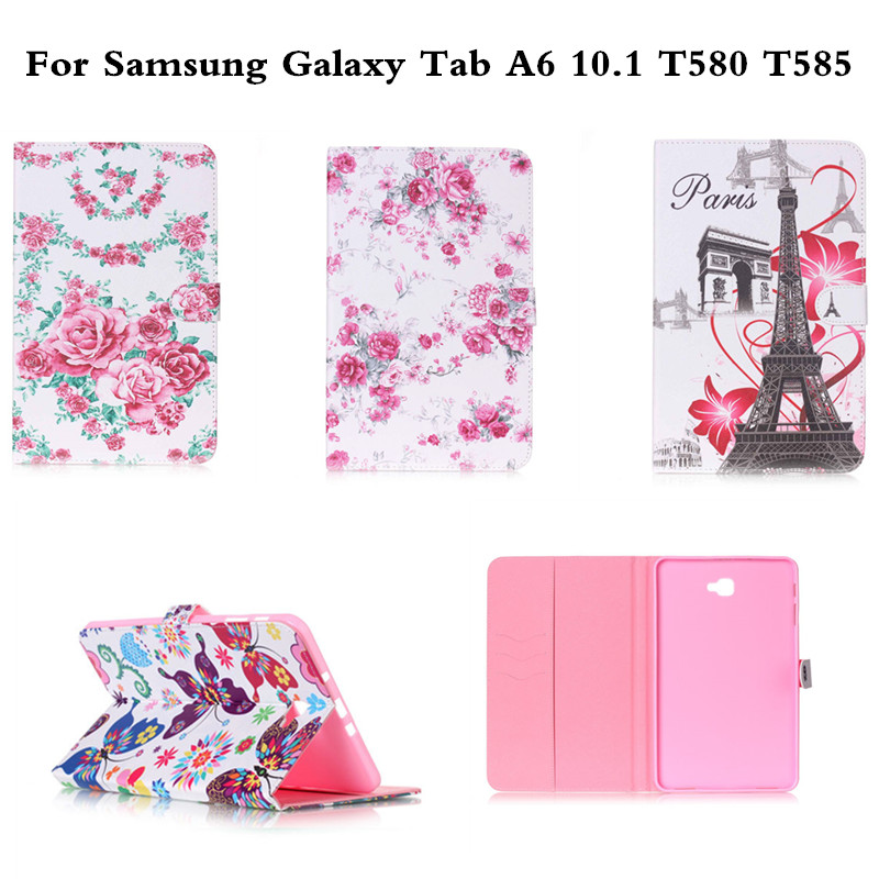 Flip Tablet Stand Fashion PU Leather Cover with Card Slots Case For Samsung Galaxy Tab A A6 10.1 T580 T585 sm-t580 SM-T585 T585C cover case for huawei p9 lite half a face of a cat pu tpu leather with stand and card slots magnetic closure