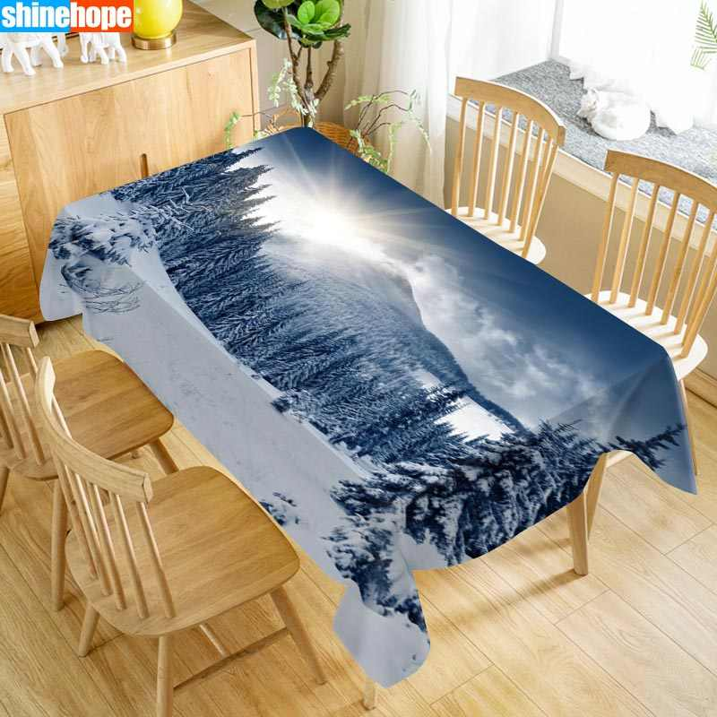 Custom Winter Snow Nature Table Cloth Oxford Print Waterproof Oilproof Home Rectangular Party Table Cover 100X140cm/140X250cm