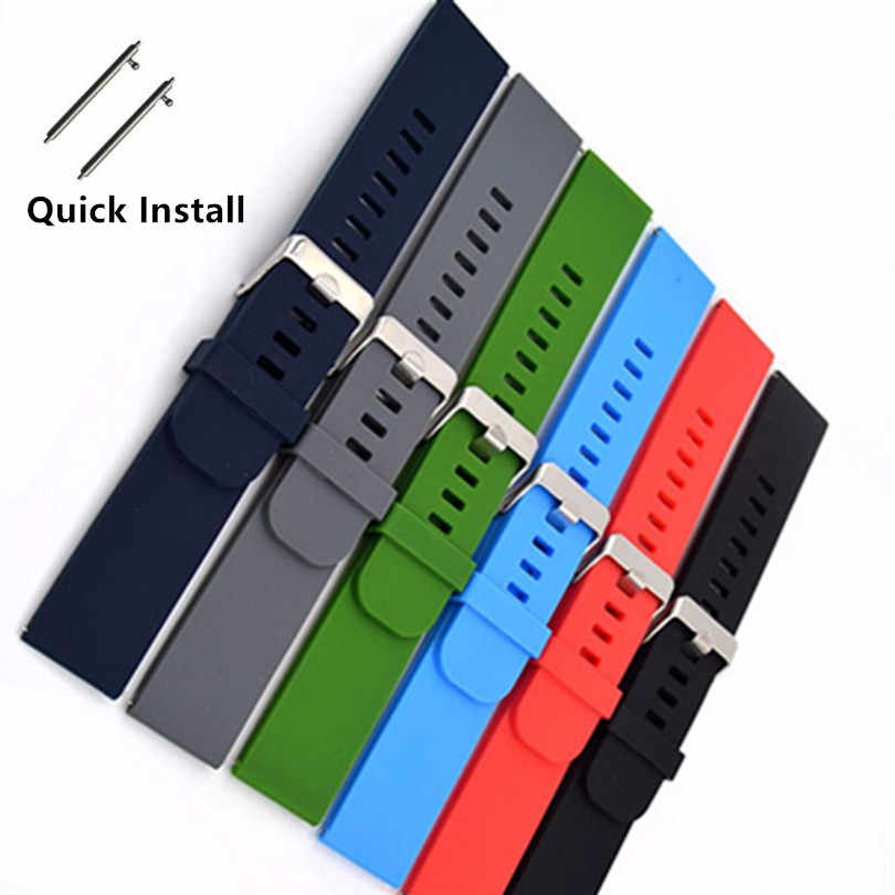 18 20 22mm Rubber Wrist Watch Band Belt Strap For Samsung Galaxy Gear For MOTO 360 2nd For Ticwatch 2 Watchbands Correa Reloj