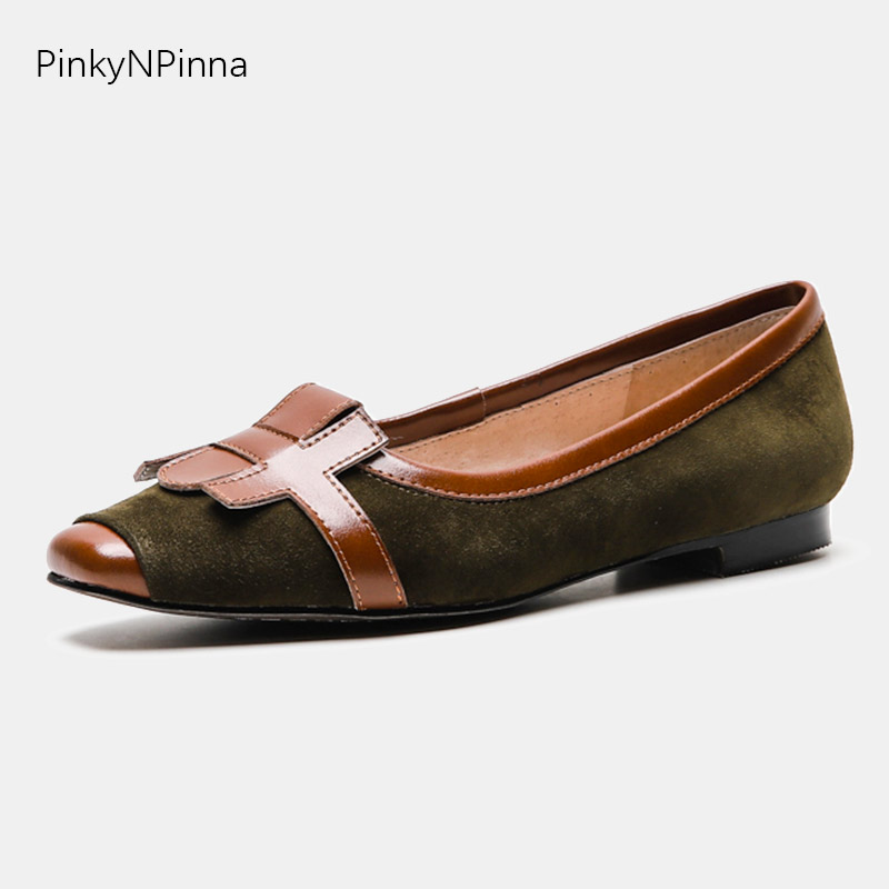 2019 women top quality sheepskin   suede   boat shoes non-slip loafers driving brown casual genuine   leather   flange vintage flats