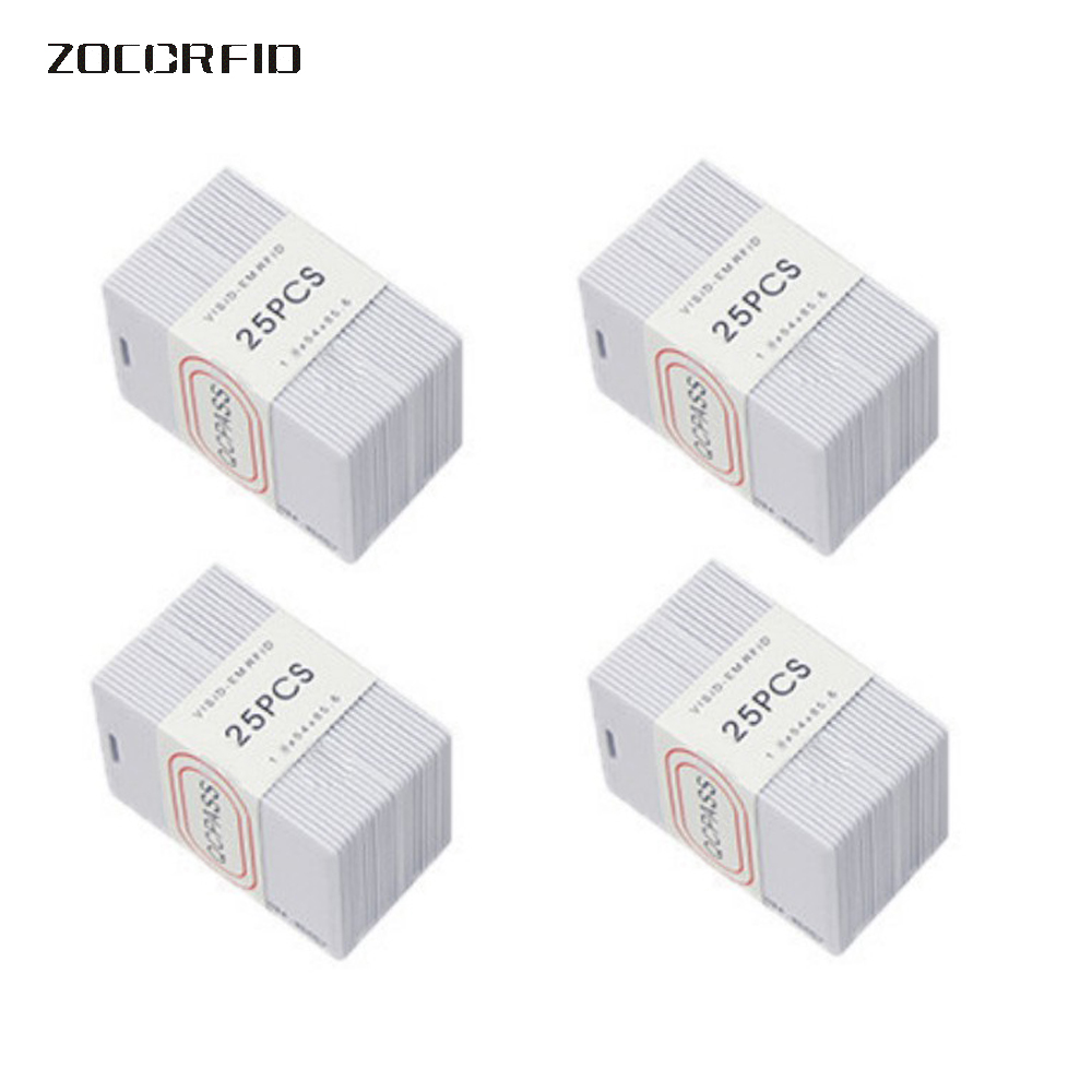 100pcs/box RFID card TK4100 125 KHZ RFID card EM Thick ID card suitable for access control and attendance cards 100pcs bag tk4100 em id keyfob k001